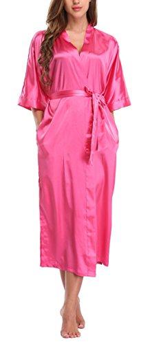 WitBuy Women's Silk Robe Long Satin Kimono Robe Lightweight Bathrobe with Pockets for Bride and Bridesmaids Rose XXXL