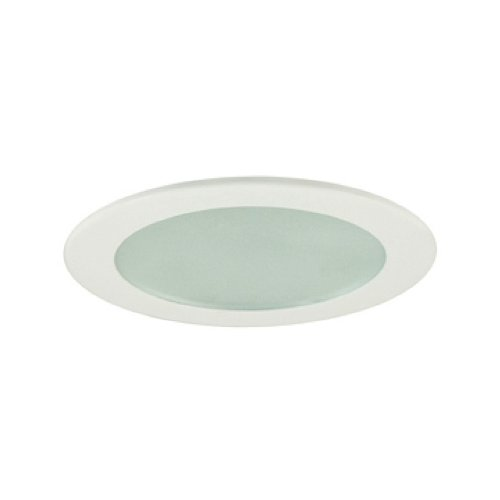 Jesco Lighting TM409WH 4-Inch Aperture Low Voltage Trim Recessed Light, Flat Frosted Glass for Shower, White Finish