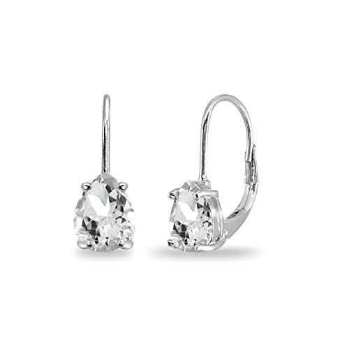 - Sterling Silver Light Aquamarine 7x5mm Teardrop Dainty Leverback Earrings for Women Teen Girls