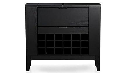 Aprodz Mango Wood Wine Storage Erikin Stylish Bar Cabinet for Living Room | Black Finish