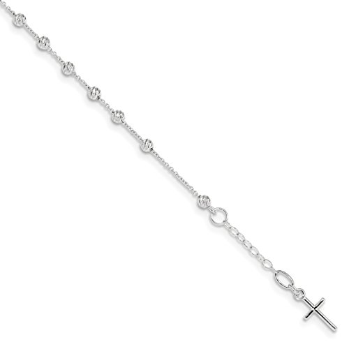 14k White Gold Cross Religious Miraculous Medal Pendant Charm Necklace .75in Extension Bracelet 6 Inch Fine Jewelry For Women Gift Set