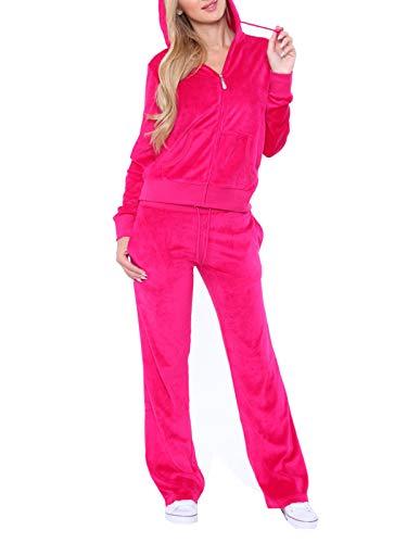 (Women's Athletic Soft Velour Zip Up Hoodie & Sweat Pants Set Jogging Suit (M, Fuchsia))