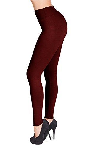 SATINA High Waisted Leggings – 22 Colors – Super Soft Full Length Opaque Slim (Plus Size, Burgundy) by Sejora (Image #1)