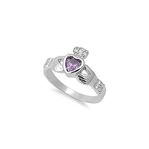 .925 Sterling Silver Friendship Claddagh Bezel Heart February Birthstone Cz Ring