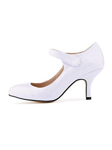 la de PU talones trabajo Blanco de charol novia Mujer zapatos de del OCHENTA tobillo txHqgw8nn