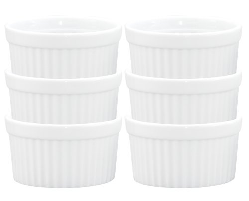 HIC Ramekins, Fine White Porcelain Souffle, 4-Inch, 10-Ounce Capacity, Set of 6 (Baked Apple Cobbler Recipe)