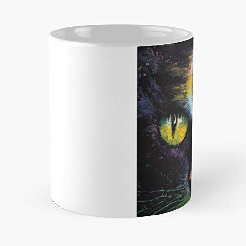Cat Eyes Yellow Glow - 11 Oz Coffee Mugs Unique Ceramic Novelty Cup, The Best Gift For Halloween. -