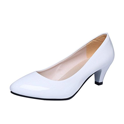 ZycShang Women Nude Shallow Mouth Office Work Heels Shoes Elegant Ladies Low Heel Size 4.5-9.5 White