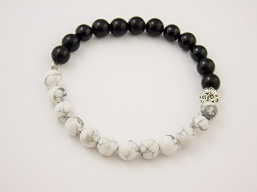 Black Onyx Howlite 8mm Bracelet Meditation Crystal Healing Chakra Balance B155 (Carnelian Onyx)