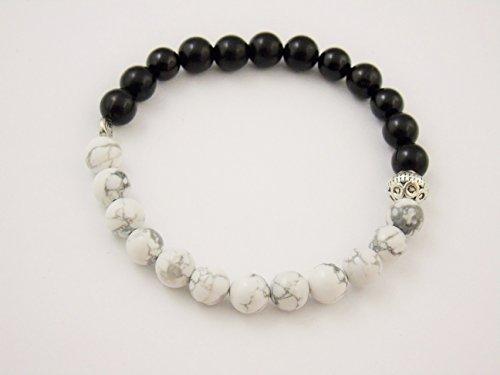 Black Onyx Howlite 8mm Bracelet Meditation Crystal Healing Chakra Balance B155 (Carnelian Onyx)