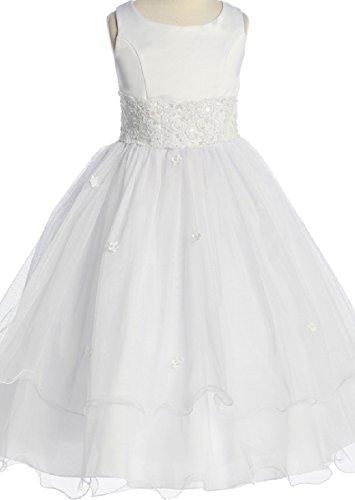 Flower Girl Dress First Communion Sleeveless Embroidery Tulle Dress Little Girl White 6 KD.198