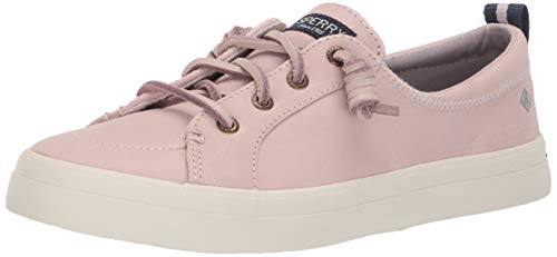 Top Sider Leather Sperry Tie (Sperry Women's Crest Vibe Washable Leather Sneaker Rose dust 090 M US)