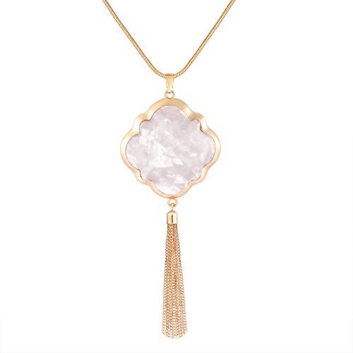 XOCARTIGE Long Necklaces for Women Acrylic Quatrefoil Pendant Necklaces Y Shape Chain Tassel Necklace for Girls (D White)