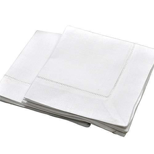 (White Linen Hemstitched Tea Napkins Set of 6 12