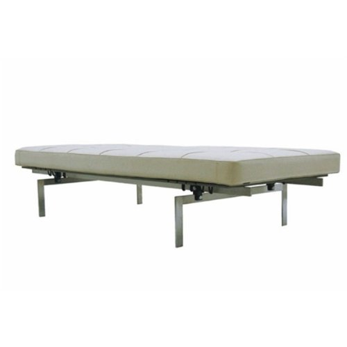 Fine Mod Imports Pika Genuine Leather 3-Seater Bench, White