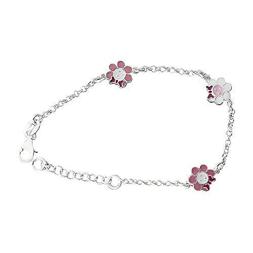 a87e5bcdf3d8 hobra de oro mágica de pulsera para niños plata 925 Pulsera De Plata Rosa  con Flores
