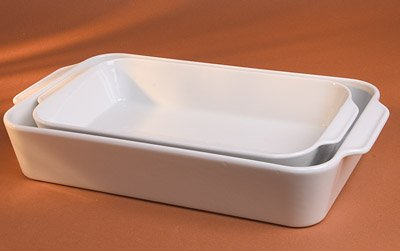Pillivuyt Porcelain Extra Deep Rectangular Roaster With Ears, Large - 13-by-9-by-2-1/2-Inch