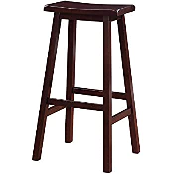 Amazon Com Benjara 29 Inch Wooden Saddle Stool With