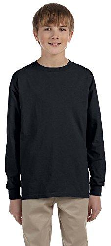 Jerzees Youth 5.6 oz, 50/50 Heavyweight Blend Long-Sleeve T-Shirt (29BL)- Black,M (Blend Youth Heavyweight Jerzees)