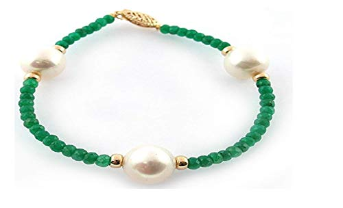 La Regis Jewelry 14k Yellow Gold 9-9.5mm White Freshwater Cultured Pearl 4mm Simulated Green Emerald Bracelet, 7.25