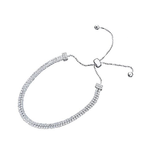 Two Row Diamond Bracelet (Women 5mm Two Row Sliding Tennis Bracelet, 7.5 inch Can Extend To 10 Inches)