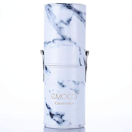 Makeup Brushes Holder Large Capacity Traveling Marble Make Up Brush Case Organizer Cosmetic Cup Cylinder Storage Box Bag Vegan Pu Leather Round(white)