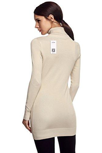 ACEVOG Jersey suéter de punto, cuello alto y manga larga para mujer Beige