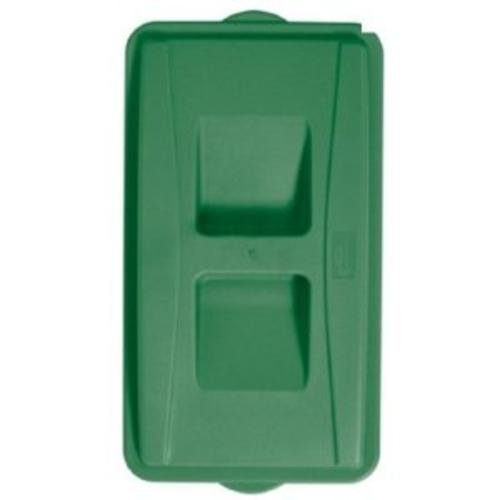 Continental 7315GN Wall Hugger LLDPE Recycle Lid with Handles, Rectangular, Green
