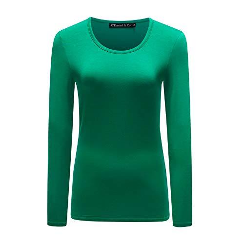 OThread & Co. Women's Long Sleeves T-Shirt Scoop Neck Plain Basic Spandex Tee (X-Large, Green)