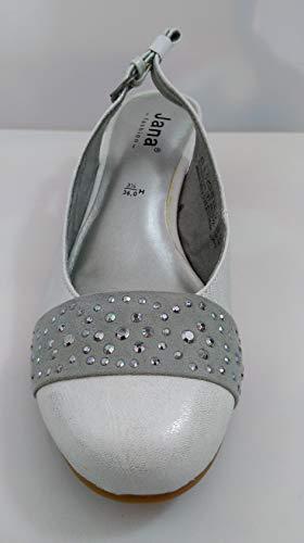Blanc Brillant gris Neuves Avec Femme Chaussures Jana 36 Strass T EIPTw