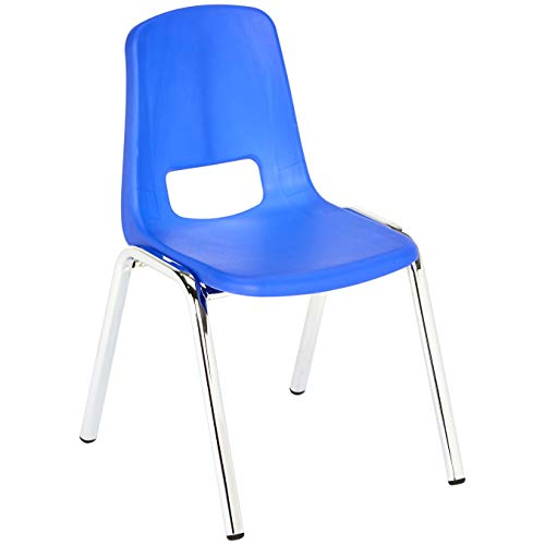 AmazonBasics 12 Inch School Stackable Chair - Chrome Legs, Blue, 6-Pack