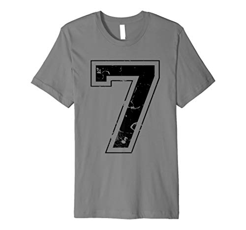 NUMBER 7 SEVEN BLACK JERSEY SPORTS ATHLETIC PLAYER T-SHIRT -