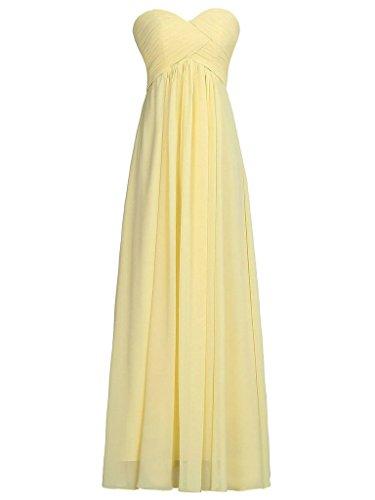 Dama Vestido de Amarillo Tirantes de Larga de de Gasa Plisada Baile JAEDEN de Vestidos Noche Sin Honor xv8qfwU
