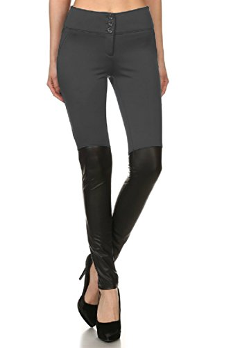 - H&H Fashion Womens Faux Leather Joint Stretch Skinny Pants Leggings-Charcoal-S
