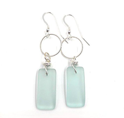 Best Seller Sea Foam Green Beach Sea Glass and Sterling Silver Hoop Earrings with Handmade Knot on Sterling Silver Hooks, by Aimee Tresor