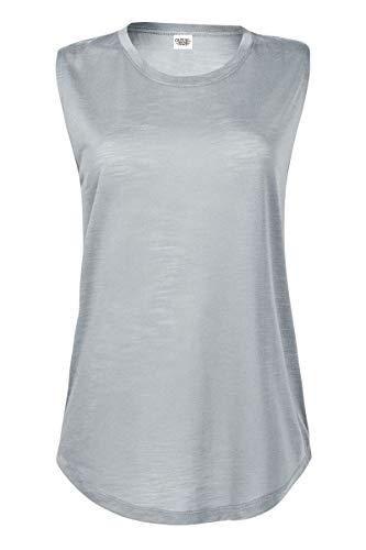(Casual Garb Women's Slub Sleeveless Crew Neck T Shirt Sleeveless Shirts for Women Platinum XX-Large)