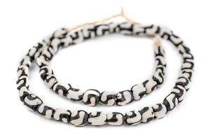 - Swirl Design Batik Bone Beads Small 8mm Kenya African Black and White Cylinder Crafting Key Chain Bracelet Necklace Jewelry Accessories Pendants