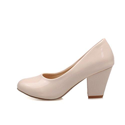 YE Damen Lack Pumps Blockabsatz High Heels Geschlossen mit Absatz 7cm Elegant Schuhe