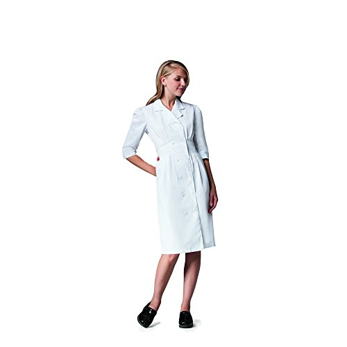 Prima by Barco Uniforms Women's Embroidered Tuck Waist Scrub Dress- White- X-Small