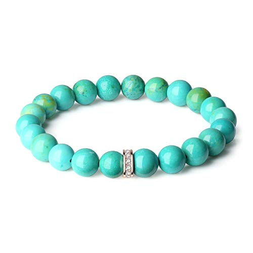 OKIKO Womens Chakra Bracelet Turquoise Healing Power Boho Gemstone Charm Handmade Jewelry