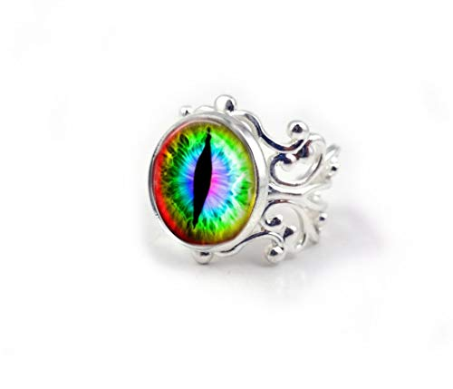 Cat Eye Ring in Rainbow Colors - Realistic Animal Eyeball in Vintage Bronze or Silver Filigree Adjustable Size Setting - Evil Eye Ring ()