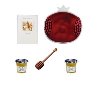 Rosh Hashana Jewish New Year Greeting Set: Enamel on Stainless Pomegranate Dish, 2 Small Jars of Honey, Wooden Honey Dipper and Happy New Year Greeting Card (Red)