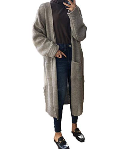 RiHeng レディース ロング丈 ニット カーディガン シンプル カジュアル vネック 長袖 ゆったり 無地 ニット アウター ファッション かわいい 秋 冬