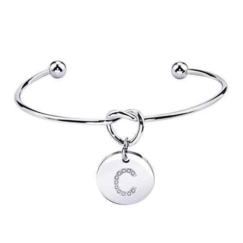 Dec.bells Jewellery I Can't Tie The Knot Without You Love Knot Bracelet Open Cuff Bracelet with Initial Disc Charm for Bridesmaid Maid (Letter C Silver)