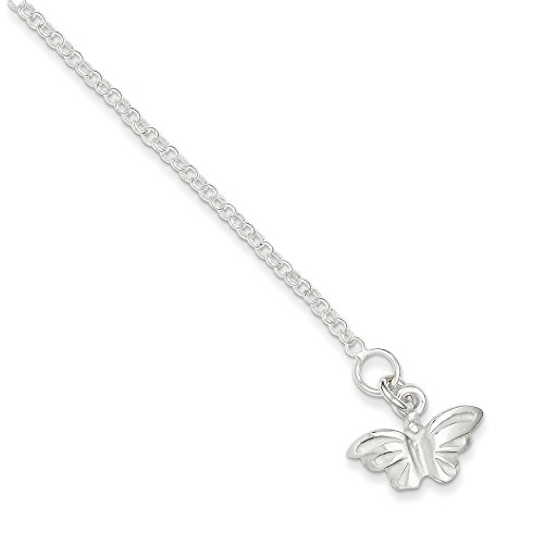 Roy Rose Jewelry Sterling Silver Butterfly Anklet 9'' - Butterfly Silver Sterling Anklet 9'