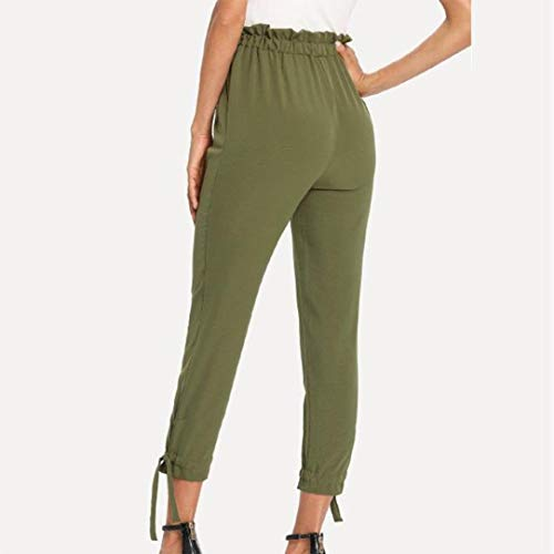 de Ocio de Cintura Pantalón Alta de ASHOP Boho Fitness Impreso Cordón Pantalones de Pocket Verde Yoga Bow Pantalones Estilo Mujer Leggings Jeans Vaqueros Cintura xvZYqwYU1