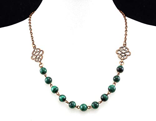 Necklace with Malachite and Antique Copper Celtic Accents