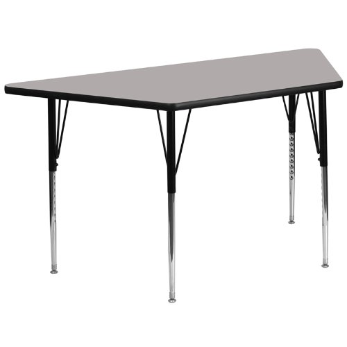 Flash Furniture XU-A3060-TRAP-GY-H-A-GGTrapezoid Activity Table with 1-1/4-Inch Thick High Pressure Grey Laminate Top/Standard Height Adjustable Legs