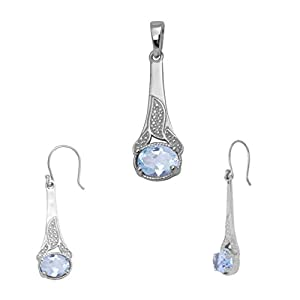 Shine Jewel Blue Topaz Gemstone 925 Sterling Silver Pendant Set With Earring