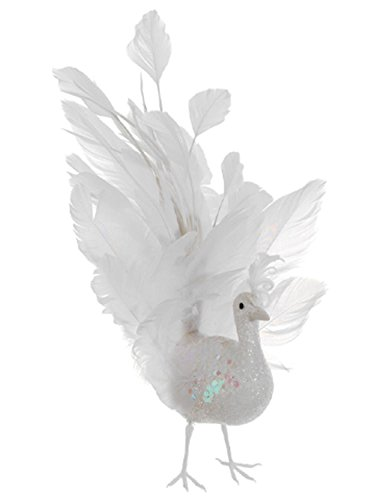 Allstate Regal Peacock White Glitter Winter Frost Fancy Tail Bird Christmas Ornament, 10